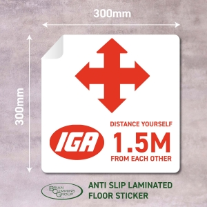 Floor Sticker Social Distancing IGA - Click for more info