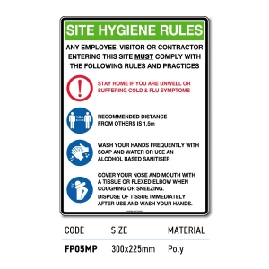 Safety Signage Site Hygiene Rules