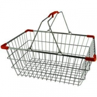 Med. Chrome Shopping Basket - Pk.20- Red